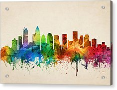 Charlotte North Carolina Skyline 05 Acrylic Print by Aged Pixel