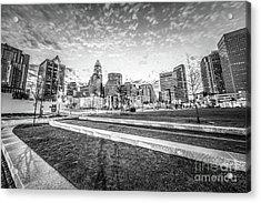 Charlotte Skyline And Bearden Park Black And White Photo Acrylic Print by Paul Velgos
