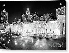 Charlotte Skyline At Night Black And White Photo Acrylic Print by Paul Velgos