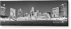 Charlotte Skyline At Night Panorama In Black And White Acrylic Print by Paul Velgos