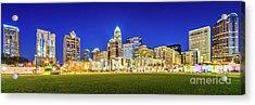 Charlotte Skyline At Night Panorama Photo Acrylic Print by Paul Velgos