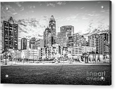 Charlotte Skyline Black And White Photo Acrylic Print by Paul Velgos