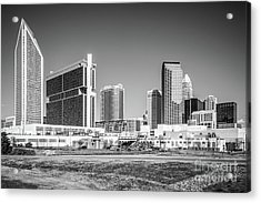 Charlotte Skyline Black And White Picture Acrylic Print by Paul Velgos