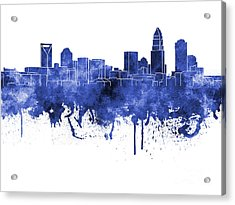 Charlotte Skyline In Blue Watercolor On White Background Acrylic Print by Pablo Romero