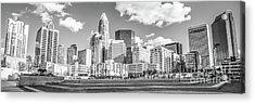 Charlotte Skyline Panorama Black And White Image Acrylic Print by Paul Velgos