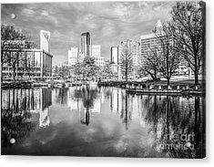 Charlotte Skyline Reflection Black And White Photo Acrylic Print by Paul Velgos