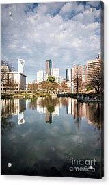 Charlotte Skyline Reflection On Marshall Park Pond Acrylic Print by Paul Velgos