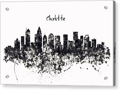Charlotte Watercolor Skyline Black And White Acrylic Print