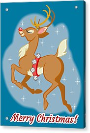 Charming Retro Reindeer Acrylic Print by J L Meadows