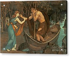Charon And Psyche Acrylic Print by John Roddam Spencer Stanhope