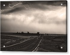 Chasing The Storm - County Rd 95 And Highway 52 - Co- Sepia Acrylic Print by James BO  Insogna
