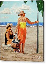 Chat On The Beach - Chat En La Playa Acrylic Print