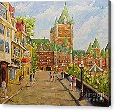 Chateau Frontenac Promenade Quebec City By Prankearts Acrylic Print by Richard T Pranke