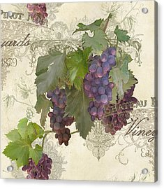 Chateau Pinot Noir Vineyards - Vintage Style Acrylic Print by Audrey Jeanne Roberts