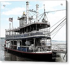 Acrylic Print featuring the photograph Chautauqua Belle Steamboat With Ink Sketch Effect by Rose Santuci-Sofranko