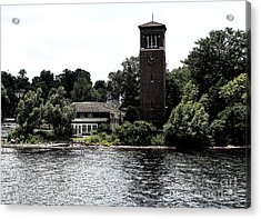 Chautauqua Institute Miller Bell Tower 2 With Ink Sketch Effect Acrylic Print