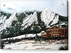 Acrylic Print featuring the painting Chautauqua - Winter, Late Afternoon by Tom Roderick