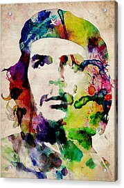 Che Guevara Urban Watercolor Acrylic Print by Michael Tompsett
