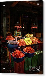 Acrylic Print featuring the photograph Cheannai Flower Market Colors by Mike Reid