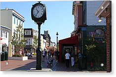 Acrylic Print featuring the painting Checking Out The Shops In Cape May by Rod Jellison
