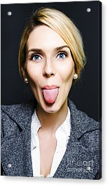 Cheeky Business Woman Sticking Out Tongue Acrylic Print