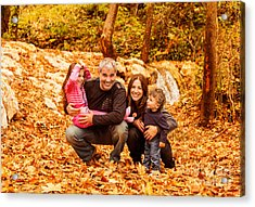 Cheerful Family In Autumn Woods Acrylic Print