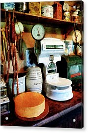 Cheese Sausage And Scale Acrylic Print by Susan Savad