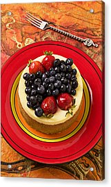 Cheesecake On Red Plate Acrylic Print by Garry Gay