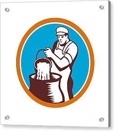 Cheesemaker Pouring Bucket Curd Circle Woodcut Acrylic Print by Aloysius Patrimonio