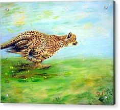 Cheetah At Speed Acrylic Print