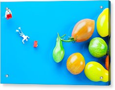 Acrylic Print featuring the painting Chef Tumbled In Front Of Colorful Tomatoes II Little People On Food by Paul Ge