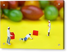 Acrylic Print featuring the painting Chef Tumbled In Front Of Colorful Tomatoes Little People On Food by Paul Ge