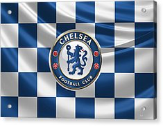 Chelsea F C - 3 D Badge Over Flag Acrylic Print