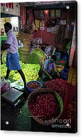 Acrylic Print featuring the photograph Chennai Flower Market Busy Morning by Mike Reid