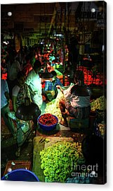 Acrylic Print featuring the photograph Chennai Flower Market Stalls by Mike Reid