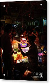 Acrylic Print featuring the photograph Chennai Flower Market Transaction by Mike Reid