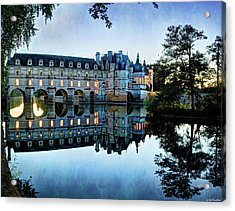 Chenonceau Twilight In Blue - Vintage Version Acrylic Print