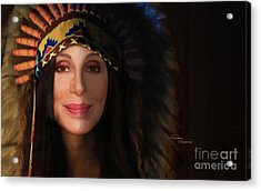 Cher Feather Headdress  Acrylic Print