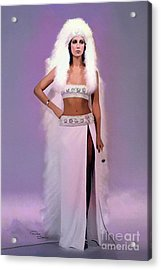 Cher White Headdress 1973 Acrylic Print