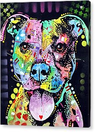 Cherish The Pitbull Acrylic Print by Dean Russo