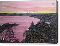 Acrylic Print featuring the painting Cherokee Lake Sunset by Joel Deutsch