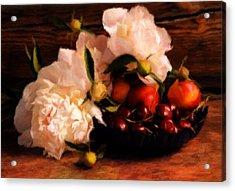 Cherries And Peonies  Acrylic Print by Georgiana Romanovna