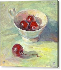Cherries In A Cup On A Sunny Day Painting Acrylic Print by Svetlana Novikova