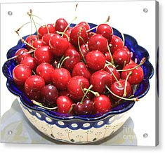 Cherries In Blue Bowl Acrylic Print by Carol Groenen