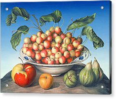 Cherries In Delft Bowl With Red And Yellow Apple Acrylic Print by Amelia Kleiser