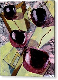 Cherries On Flat Homeware Acrylic Print by Evguenia Men