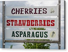 Cherries Strawberries Asparagus Roadside Sign Acrylic Print