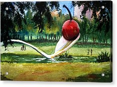 Cherry And Spoon Acrylic Print by Marilyn Jacobson