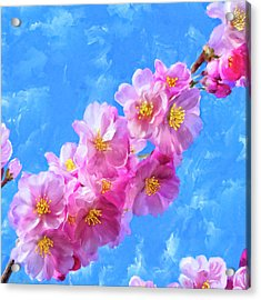 Acrylic Print featuring the painting Cherry Blossom Pink - Impressions Of Spring by Mark Tisdale
