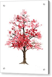 Cherry Blossom Tree Minimalist Watercolor Painting Acrylic Print by Joanna Szmerdt